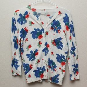 J Crew Blue Red White Floral 3/4 Sleeve Sweater